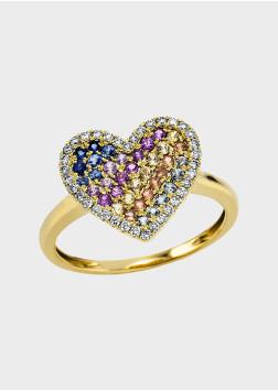 Box Selection Rainbow Herz Saphir Damenring